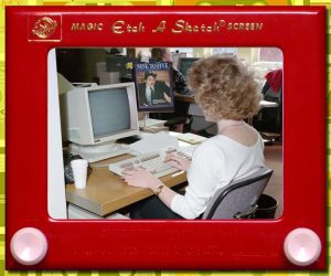 80s office, woman at computer